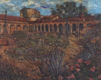 patio of the mission san juan capistrano by manuel m. miles
