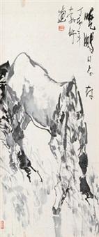饮马图 立轴 设色纸本 by liu boshu