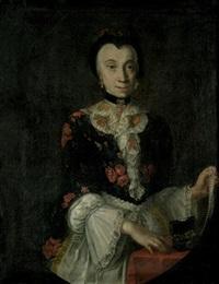 bildnis einer dame im blumenbestickten kleid mit perlenkette und schmuckkästchen by anna rosina lisiewski