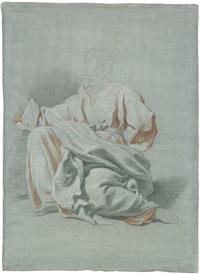 akademiestudie einer knienden männlichen figur (+ another; 2 works) by johann justin preissler