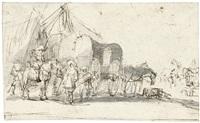 gespräch zwischen einem reiter und reisenden mit pferdewuhrwagen in einem zeltlager by jan de martszen the younger