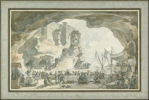 vue de la grotte de polignano appellée dans le pays grottae di palazzo sur les bords de la mer adriatique dans la pouille by louis jean desprez