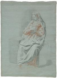 akademiestudie einer sitzenden, weiblichen figur in einem gewand, die hände vor der brust verschränkt (+ sitzenden apostelfigur, 2 works) by johann justin preissler