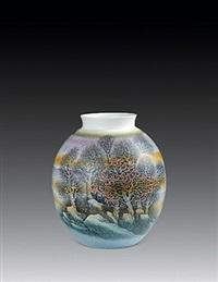 """高温色釉""""秋色如歌""""瓶 by xu jiangyun"""