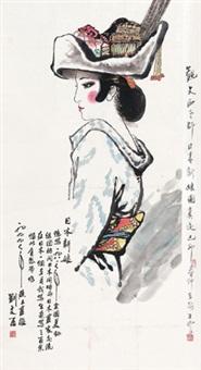 日本新娘 立轴 设色纸本 by liu wenxi