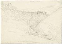 in den sabiner bergen - blick auf die bergdörfer st. cosimatto und sarracenesco by johann joachim faber