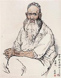 南疆人 立轴 设色纸本 by liu wenxi