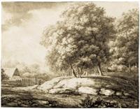 waldlandschaft mit einem bauernhaus und einer baumgruppe by christoph nathe