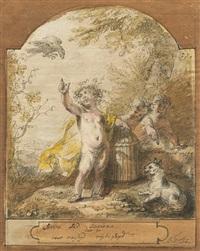 serva sed secura (besser sicher als frei): amor mit einem vogel im käfig, im himmel ein raubvogel, rechts eine katze by cornelis troost