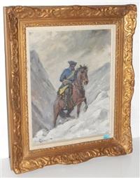 berittener soldat im schneesturm by alexander langlet