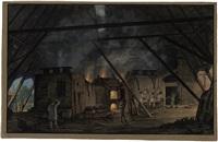das innere einer glashütte mit den brennenden ziegelöfen by johann karl jacob gerst