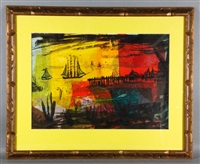 abstract harbor scene by werner drewes