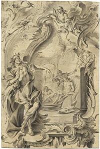 rocaillekartusche mit nero und seneca (study for etching) by johann esaias nilson