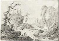 felsige flusslandschaft mit zwei wäscherinnen im vordergrund by jacques gamelin