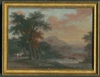 landschaft mit 2 reitern links unter bäumen, rechts im fluss ein reiter mit 2 pferden und fernblick auf eine stadt mit festungsberg (würzburg ?) by carl sebastian von bemmel