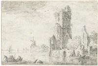 flusslandschaft mit ruine und windmühle by cornelis van noorde