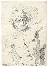 männlicher akt als halbfigur by pietro antonio novelli