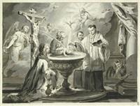 die sieben sakramente: taufe, firmung, feier der eucharistie, beichte, krankensalbung, priesterweihe und ehe (7 works) by pietro antonio novelli