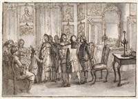 die hypnose - ein junger mann wird vor einer gesellschaft in einem schloß hypnotisiert by giuseppe piattoli