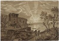 sonnenuntergang am golf von sorrent mit heimkehrenden bauern, im hintergrund die silhouette von capri by carl (karl) wilhelm götzloff