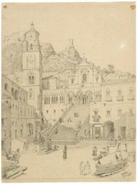 die piazza del duomo in amalfi mit sant'andrea und dem campanile by maximilian albert hauschild