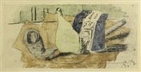 still life with pipe and yellow bottle (la paque de bleu) by georges braque