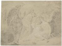 allegorische darstellung mit engel und einer weiblichen gestalt mit füllhorn by johan josef langenhöffel