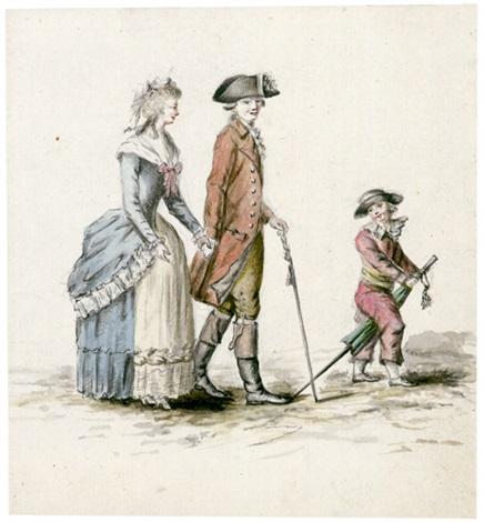 der sonntagsspaziergang junges paar mit knaben junge mann mit gehstock und eine junge dame verso by anton wilhelm strack