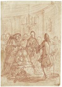 gesellschaft in einem palast mit der übergabe von in säcken abgefüllten münzen an einen geistlichen by bernhard (christian bernhard) rode