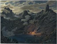 mondnacht über dem grünen see in der hohen tatra mit felspanorama, im vordergrund figuren an einem lagerfeuer by max von grossmann