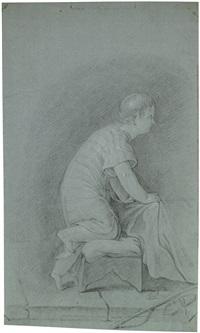 auf einem sitzhocker kniender knabe in gestreiftem nachtkleid by bernhard (christian bernhard) rode