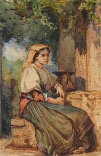 sitzende italienerin am brunnen by francois-louis-david bocion
