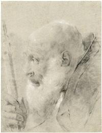 kopfstudie eines geistlichen im profil nach links, mit der rechten hand einen stab haltend (+ figurenstudie, verso) by giovanni battista piazzetta