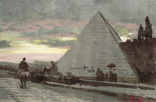 die cestius pyramide in rom im abendlicht by oswald achenbach