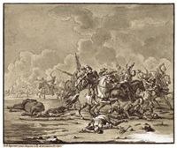 reiterschlacht mit standartenträger by georg philipp rugendas the elder
