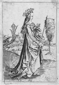 nach. die hl. ursula mit stundenbuch und pfeil by matthaus zasinger
