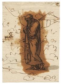 nachdenkender griechischer philosoph (sokrates) (+ a sketch, verso) by nicolaj-abraham abilgaard