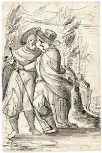 zwei pilger in einer landschaft by dietrich seligmann