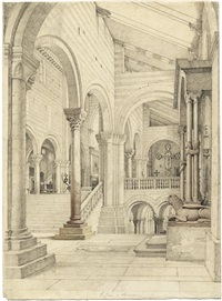 blick in das rechte seitenschiff von san zeno in verona (+ innenansicht von san zeno in verona; 2 works) by maximilian albert hauschild