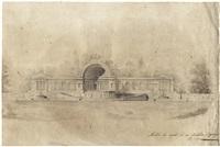 pavillon mit halbkuppel und zwei fontänen in einem palastgarten, wohl in sankt petersburg by giacomo quarenghi