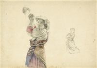 junge italienerin in der tracht von albano, die hände zum gebet gefaltet (+ 5 others; 6 works, incl. 1 chalk drawing) by maximilian albert hauschild