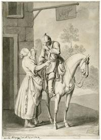die rast an der schenke: ein soldat zu pferd empfängt einen trunk von der magd by johann elias ridinger