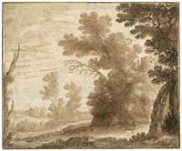 weite baumlandschaft mit einem hirten und seiner herde by herman van swanevelt