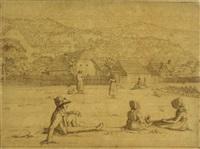 zwei mädchen und ein junger mann auf einer wiese sitzend by eduard agricola
