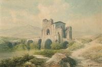 blick auf den aniene mit der ponte nomentano in der römischen campagna (+ rastender hirte neben einem stehenden rind; 2 works) by eduard karl biermann
