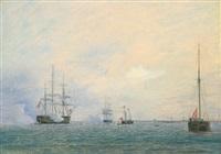 salut mehrerer schiffe in warnemünde im juni 1841 by fredrich theodor kloss