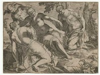 merkur und die drei grazien (after tintoretto) by agostino carracci