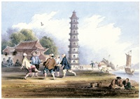 playing at shuttlecock with the feet (chinesen beim federballspiel mit den füßen) by thomas allom