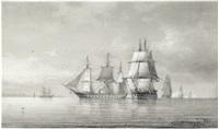 seeschlacht von mehreren fregatten vor einem ufer by carl emil baagöe