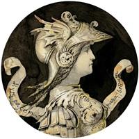 antikisierende kriegsgöttin mit brustpanzer und reich verziertem helm im profil nach rechts by gustave moreau
